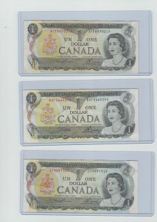 x1973 Canadian Currency Bank of Canada 1 Dollar Bill(Random Notes