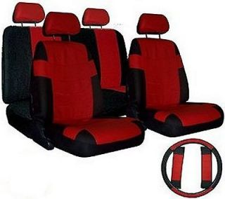 CAR SEAT COVERS Red Black set w/ Steering Wheel Cover & Belt Shoulder
