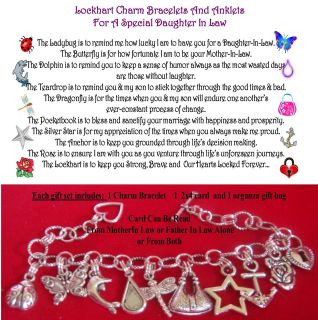 Law Charmed Anklet Special Poem + organza Bag with 2x4 card gift set