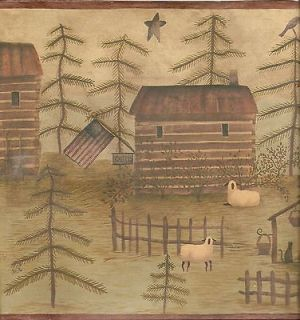 Carol Endres log cabin American flag sheep cat star broom wallpaper