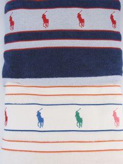 TWO Ralph Lauren HUGE Beach Bath Pool Towel POLO Pony Logo Border NWT