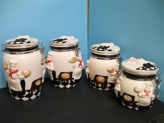 Kitchen Decor 3PC Chef Canister Set African American Guys