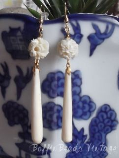 EARRINGS antique ox bone CHINESE carved DRAGON beads + LONG pendants