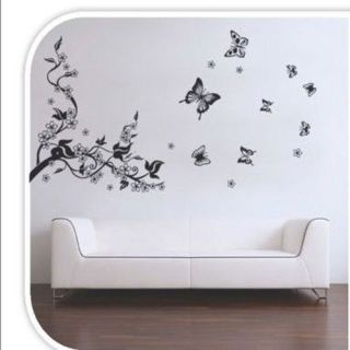 Natural Wall Paper Butterfly Flowers Trees Wall Stickers / Wall Decals