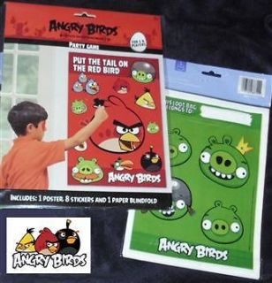 Angry Birds Pin The Party Game + 8 Pig Goody Bags Birthday Supplies