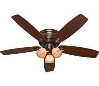 hunter 52 low profile hugger ceiling fan light fixture. Black Bedroom Furniture Sets. Home Design Ideas