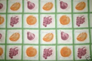 RETRO LARGE GREEN CHECK FRUIT PRINT TEA TOWEL KITCHEN CURTAINS
