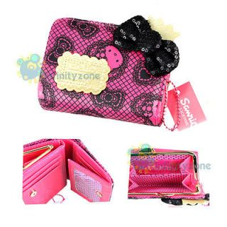 Hello Kitty Sequin Leatherette Card Holder Money Purse Case Girl Lady
