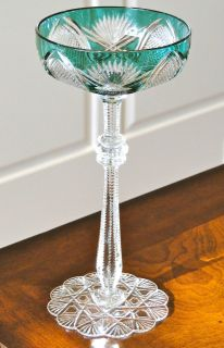 CZAR IMPERIAL CASED CUT CRYSTAL CHAMPAGNE SORBET GLASS, EMERALD GREEN