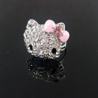 Cute Rhinestone Hellokitty Face Bling Ring CRYSTAL RING Adjustable Hot