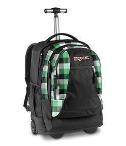 15 Laptop Backpack on Wheels (Black/Verdant Green Block Check