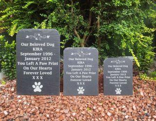 Natural Slate Pet Dog Memorial Grave Marker Headstone 3 Sizes