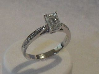 NEW .95carat Emerald Cut GIA Certified E VS1 DIAMOND 18K WG