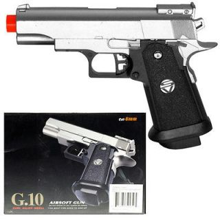 New 6.5 Spring Silver Metal Airsoft Pistol Gun 235fps w/ 6mm BB Air