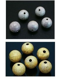 10mm,12mm Copper Round Stardust Spacer Charm Beads Silver Gold Plated