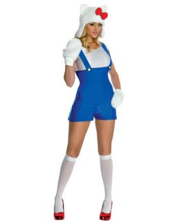 Sexy Womens Hello Kitty Blue Romper Costume