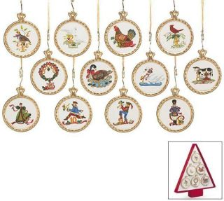 of Christmas Ornament Set 12 Christmas Ceramic Holiday Gift Tree Box