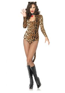 NEW Sexy Wicked Wildcat Cougar Leopard Catsuit Halloween Costume Leg