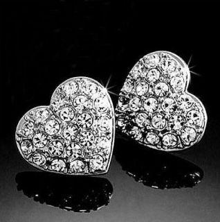 18K White Gold GP Swarovski Multi  Crystal Heart Hot Earrings BN53