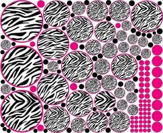 42 Zebra Circle Polka Dots Hot Pink Black + 112 Dots Wall Sticker
