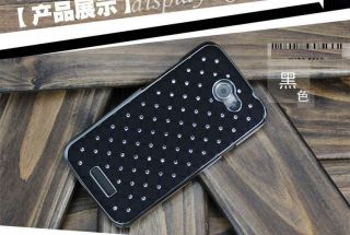 Black bling Rhinestone Star Hard Back Cover Case Skin for HTC One X