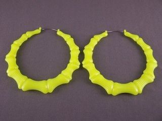 Yellow BIG Huge hoops bamboo earrings 3 3/8 wide door knocker hoop