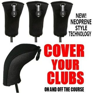NEOPRENE BLACK HYBRID 3 4 5 COMPLETE GOLF CLUB FULL SET HEAD COVERS NR