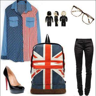 Canvas Olympic Games UK Flag Union Jack Style Backpack Bag Women Boy