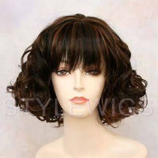 Short Human Hair Blend Curly Wavy Heat Safe Black & Auburn Mix Wig