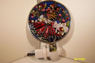 AMIA Stained Glass Night Light Butterfly Kisses New