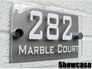 MODERN HOUSE SIGN / PLAQUE / DOOR / NUMBER / ACRYLIC & ALUMINIUM FREE