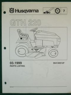 HUSQVARNA GTH 220 LAWN GARDEN TRACTOR MOWER PARTS LIST SERVICE MANUAL