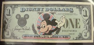 ESTATE VINTAGE ONE DISNEY DOLLAR 1987 XF MICKEY MOUSE CASTLE SCROOGE