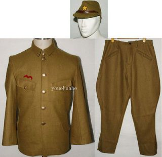 WWII JAPANESE ARMY OFFICER WOOL FIELD UNIFORM SET TUNIC BREECHES & CAP