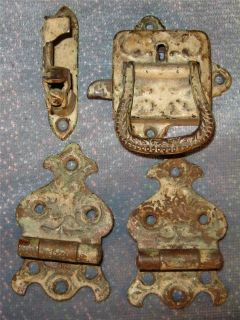 Original Antique Wooden Ice Box Hardware Ornate