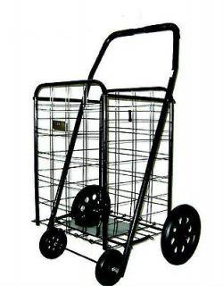 150 LB Folding Shopping Cart Basket front Rubber wheels Laundry