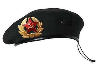 Soviet Russian Army Uniform Black Beret Hat Cap +Badge NATURAL WOOL