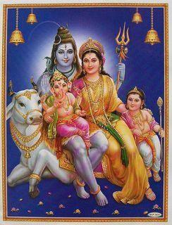 Lord Shiva Family   Parvati Ganesh Kartikeya   POSTER   9x11 (#2832)