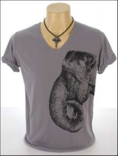 New Indie Rock Gray T Shirt Tattoo Elephant Size M (LabelL) Thin