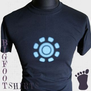 IRON MAN T SHIRT ENERGY SOURCE ARC REACTOR TONY STARK MARVEL COMIC BLU