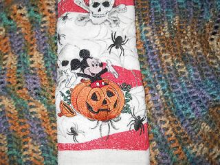 MICKEY MOUSE PUMPKIN HALLOWEEN embroidered kitchen towel