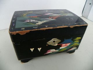 ANTIQUE JAPANESE BLACK LACQUER ORNATE MUSCICAL JEWELRY BOX*