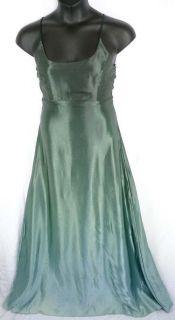 Vtg Green Ombre Dress Size 11 XS S Emerald Dip Dye Formal Prom