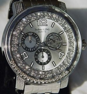 BLING DIAMONDS PLATINUM 50 CENTS ICED OUT TECHNO KING HIP HOP WATCH