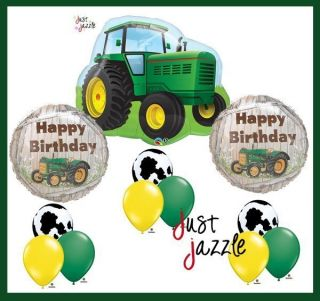 John Deere Farm Toy Tractor Cow Happy Birthday Party Supply Balloon