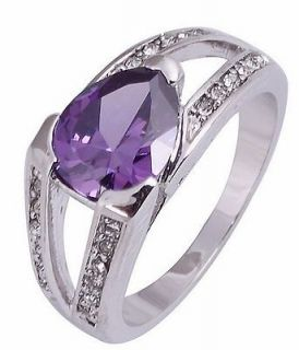 Jewelry New Handsome Purple Amethyst 10KT White Gold Filled Ring Size