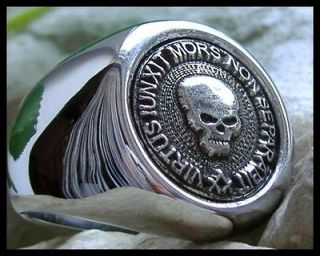 US SIZE 9   AJS © MASONIC SKULL MASON RING SIGNET SILVER STEEL LODGE