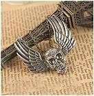 retro stylish angel wings skeleton head pendant long necklace sweater