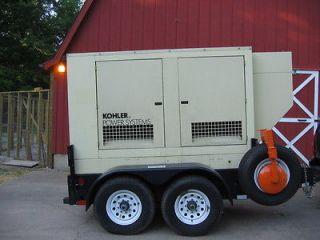 60KW 1 & 3 Phase John Deere Diesel Trailer Mounted Generator Low Hours