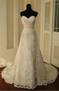 Vintage white/Ivory Lace Train Bridal Gown Wedding Dress Custom 6 8 10